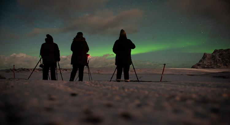 Al op de eerste avond hadden we het geluk het noorderlicht te zien op de Lofoten