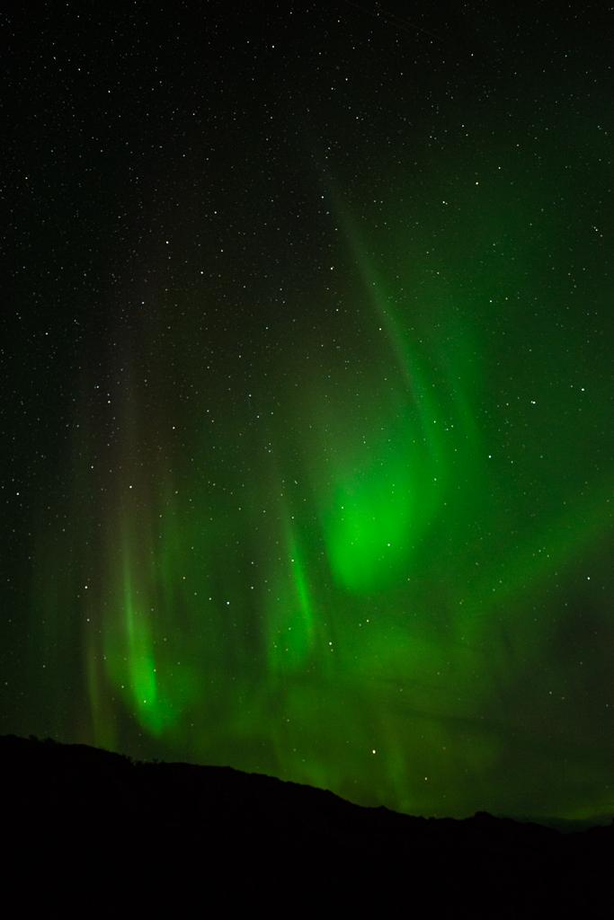 Noorderlicht boven zee op Lofoten