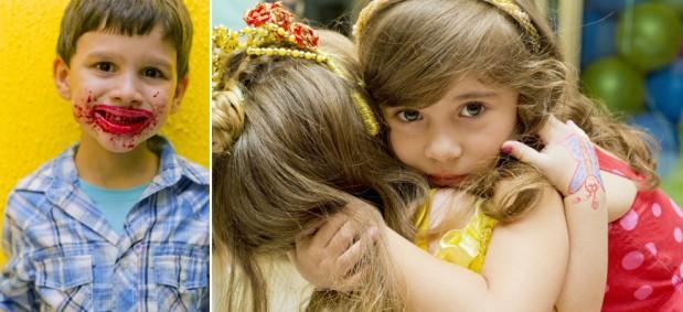 Montagem de duas fotografias para mostrar crianças no ângulo delas