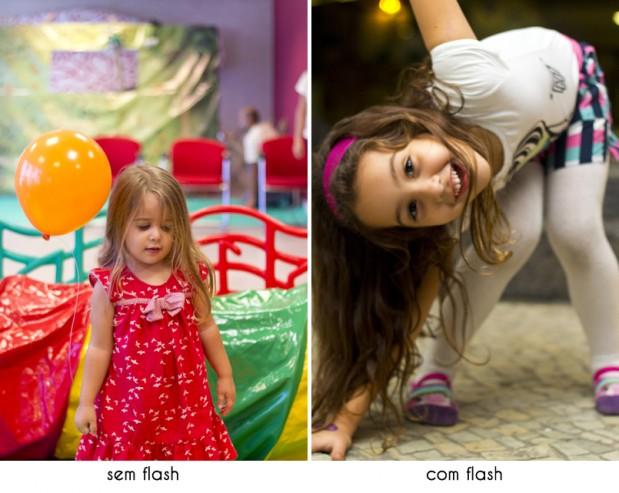 foto sem o uso do flash e a outra com o uso do flash