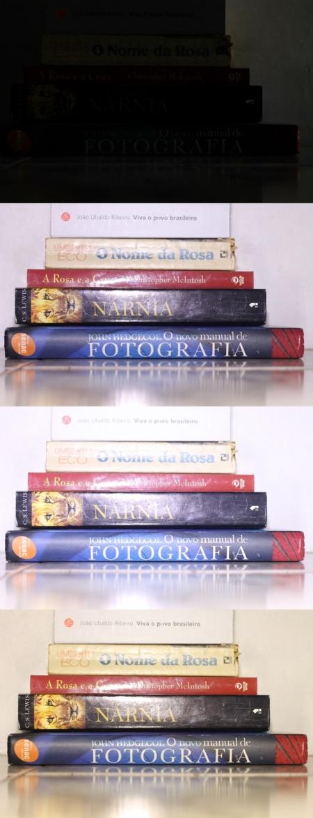 Aqui as três primeiras imagens foram feitas da mesma forma que as anteriores, e na quarta foi usado o difusor laranja