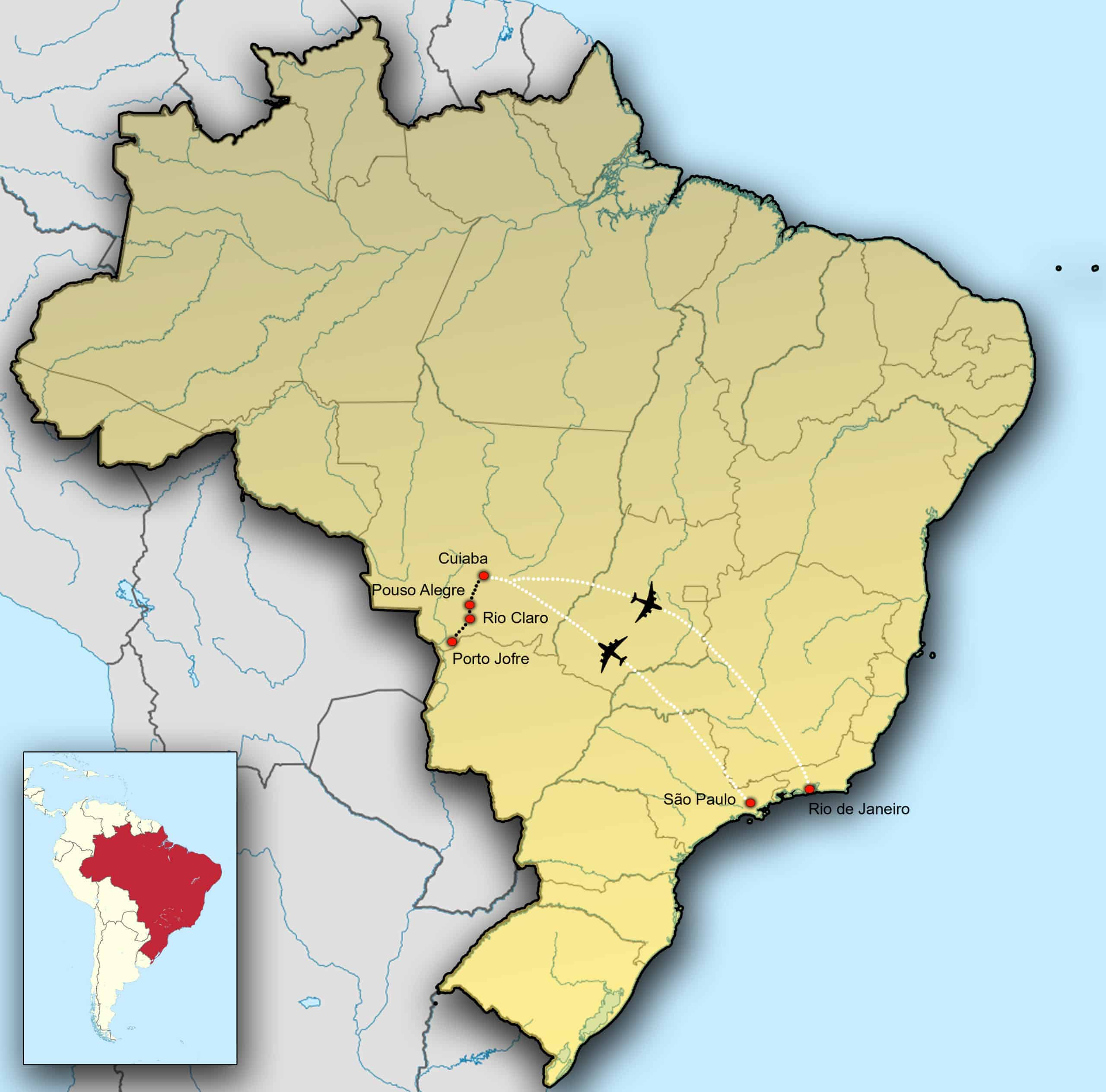Kaart van Brazilië - Fotografie-reizen.nl