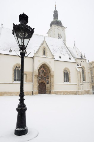 A gas lantern in front of St. Marks' church in Zagreb, Croatia,