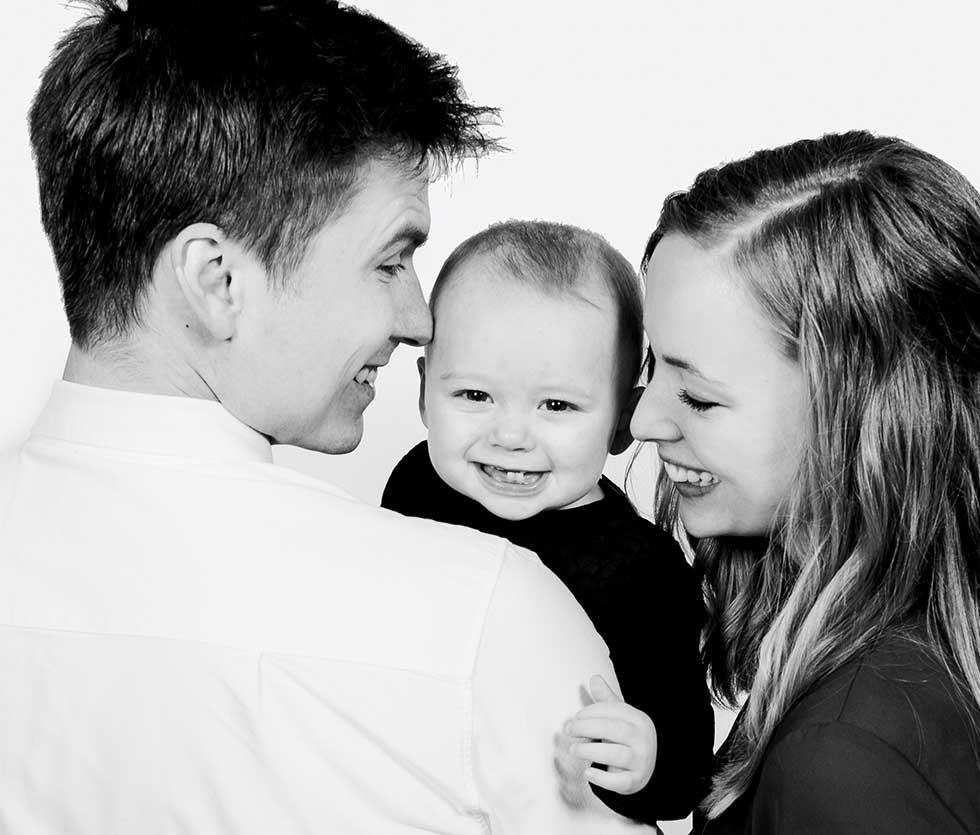 Portrætter af familien Randers, børnene eller den lille ny