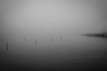 Tåkete morgen i havnebassenget utenfor operaen i Oslo.