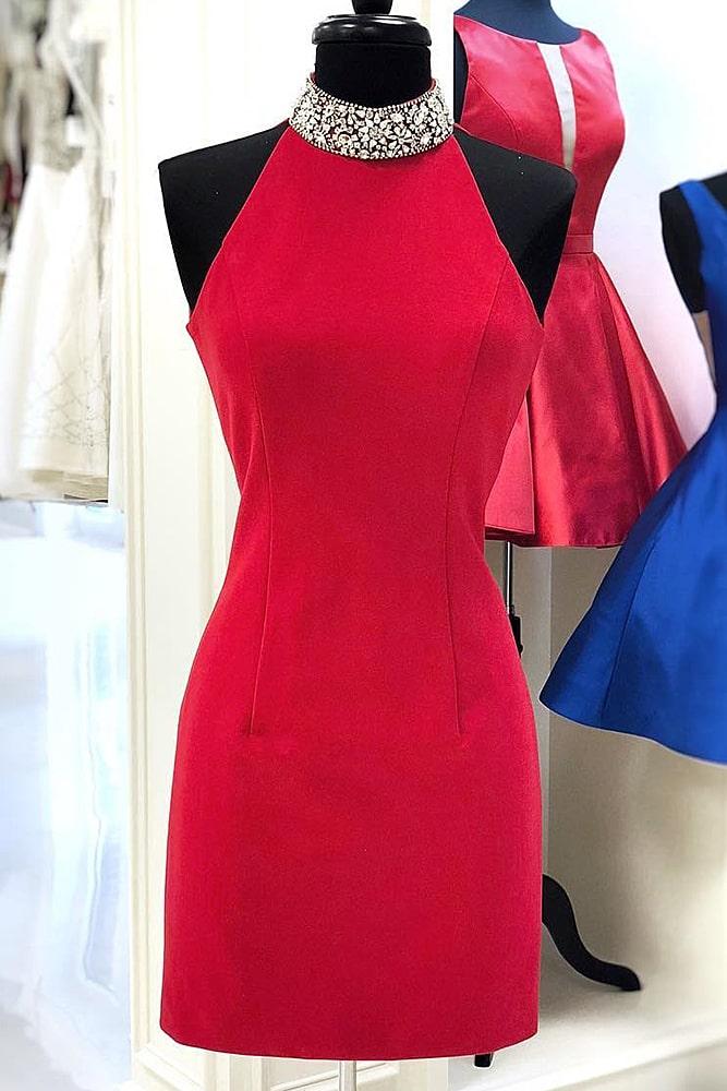 коктейльные платья красное платье под горло