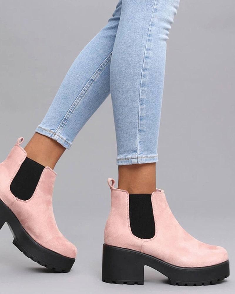 модная обувь ботинки розовые с черным