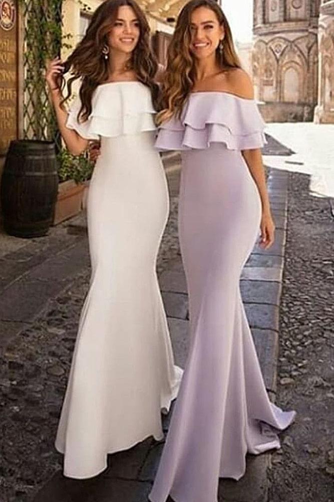 коктейльные платья белое и сиреневое