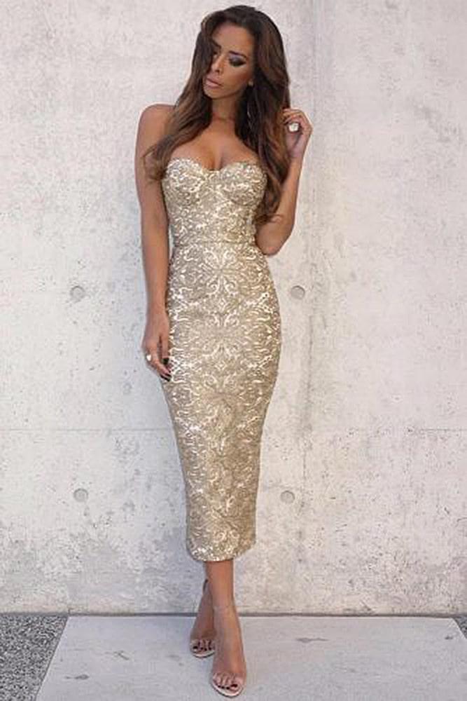 коктейльные платья золотое
