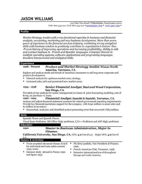 Best Example Of Resume Format