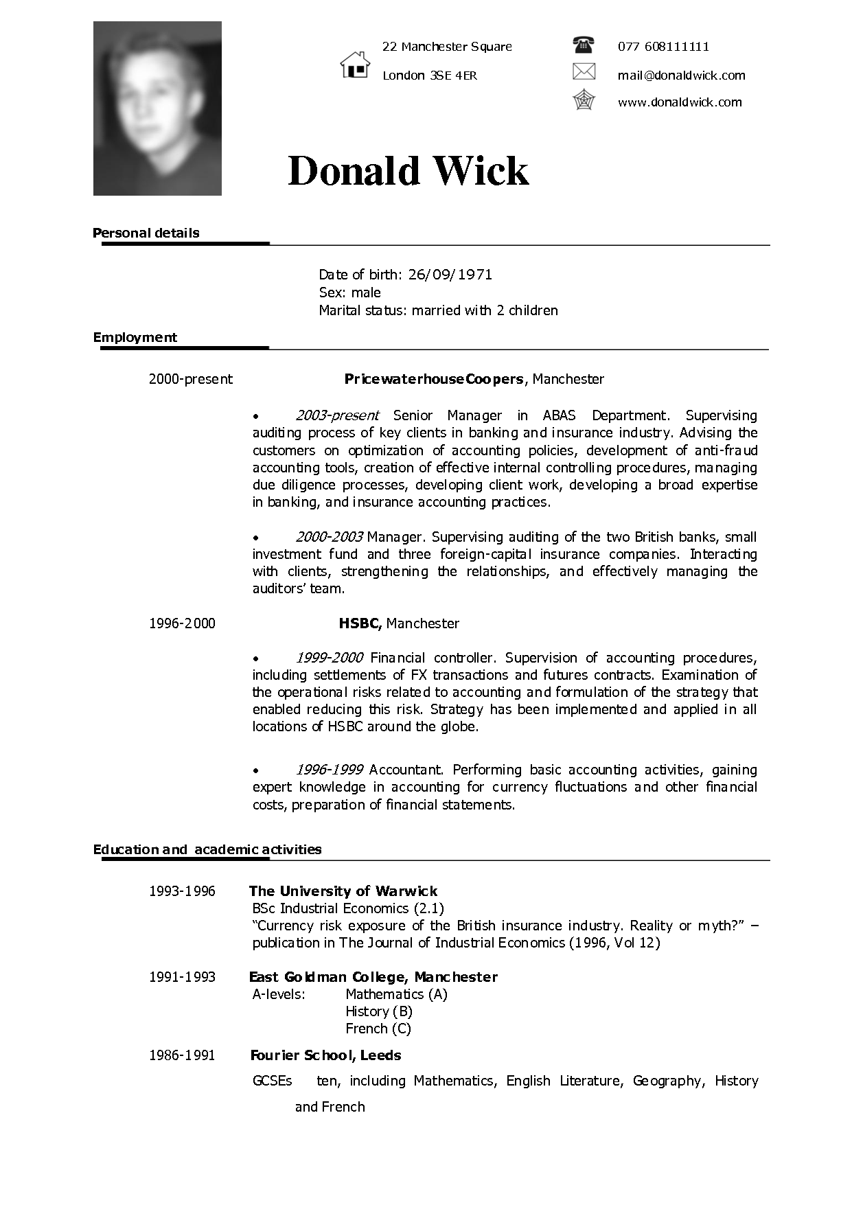 american english for cv resume
