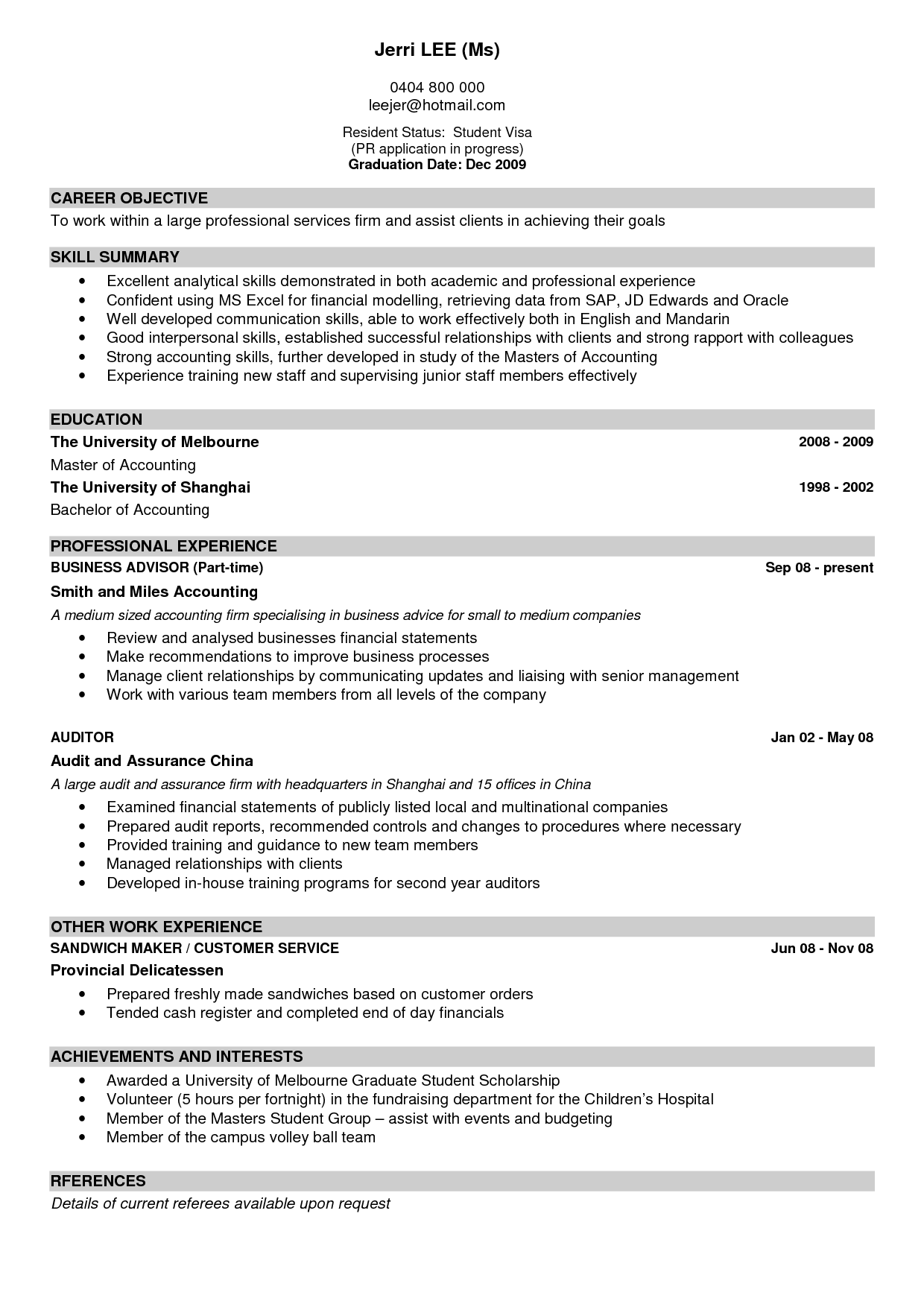 Sample Of A Good Resume Hospital Psychologist Sample Resume