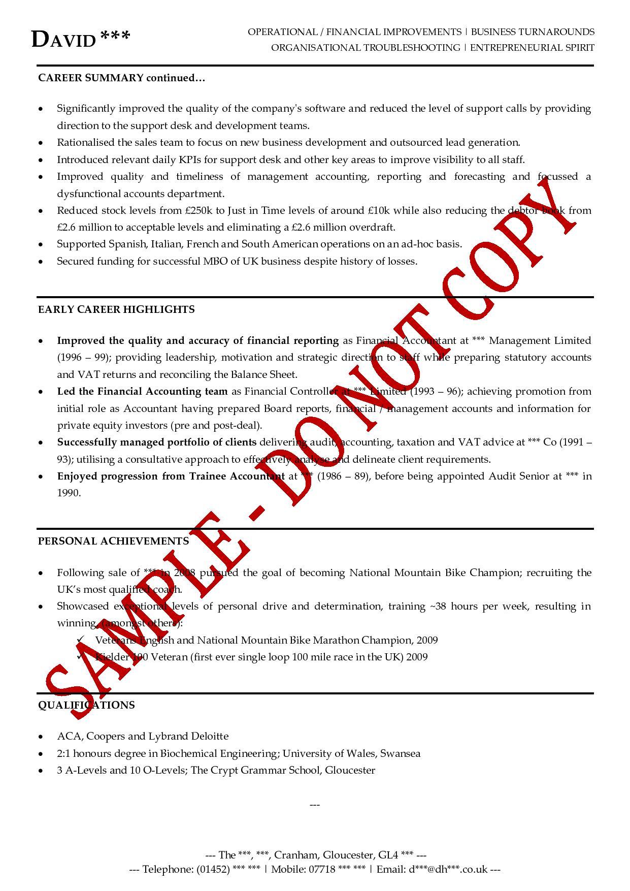 good sample of sales resume