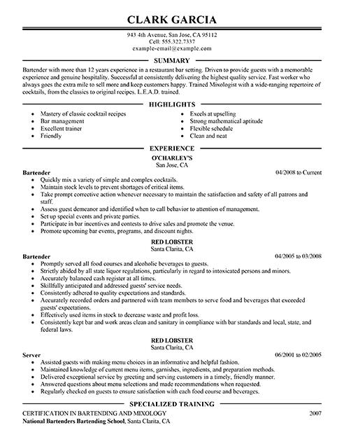 Resume Layout For Bartender | Profesional Resume for ...