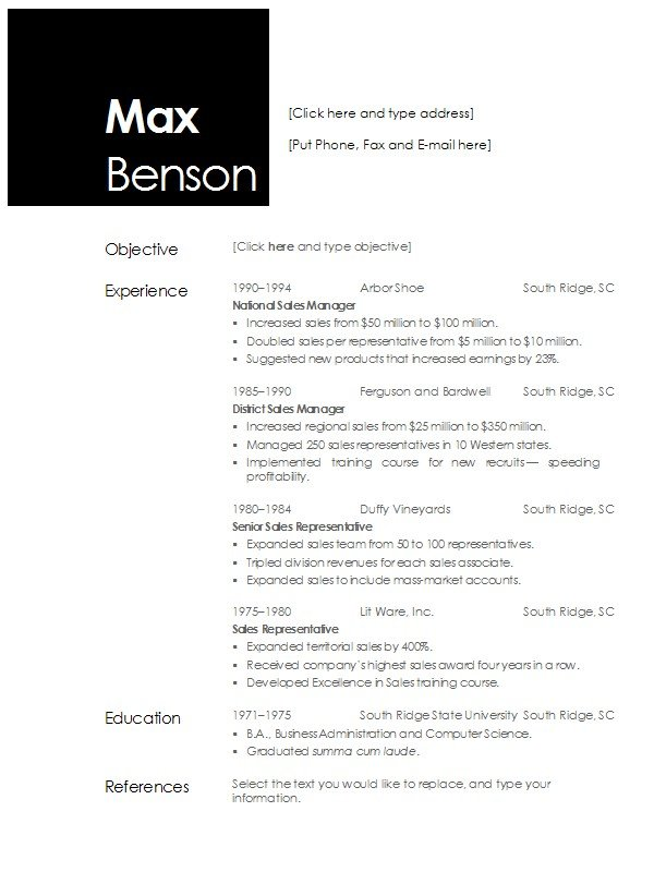 resume template side by side