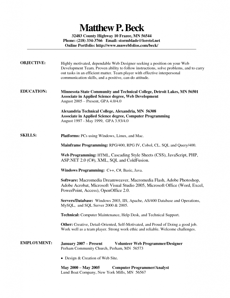 Free Wordpad Resume Template