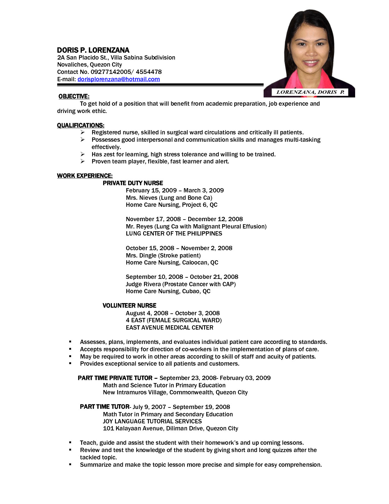 Sample Resume Of Nursing Applicant 100 Original Papers