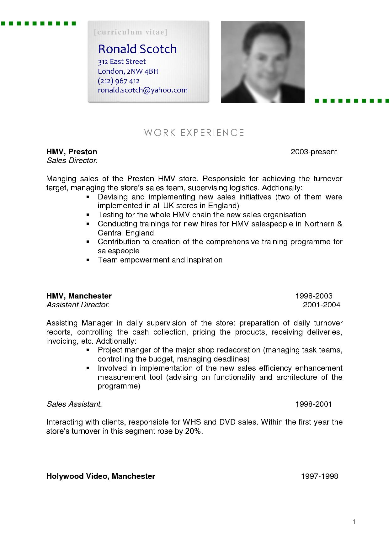what is cv resume sample