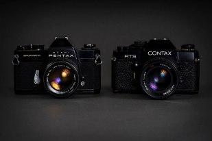 Pentax og Carl Zeiss-objektiverne monteret på klassikerne Pentax Spotmatic SPII og Contax RTS.