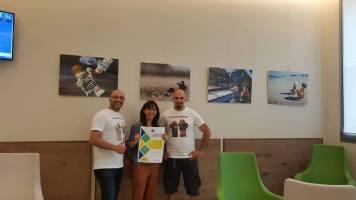 Al centro Dottoressa Elisa Canfora, l'organizzatrice della mostra. A sinistra Alessio Varisco e alla destra Daniele Varisco