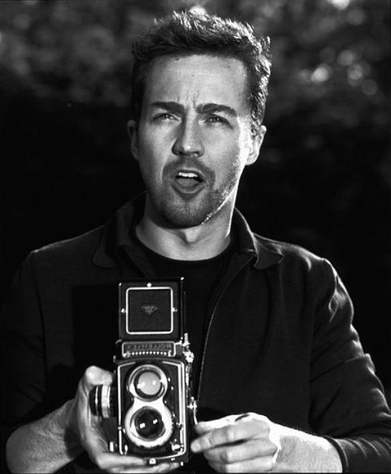 Edward Norton and a Rolleiflex