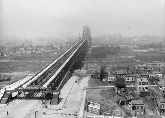 The Queensboro Bridge, leading to Manhattan, seen on May 1, 1912. (Eugene de Salignac-Courtesy NYC Municipal Archives)