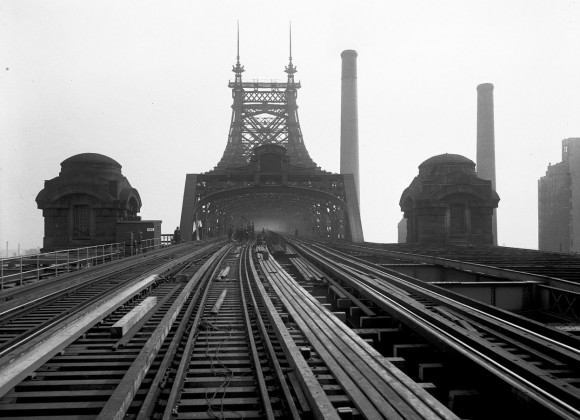The Queensboro Bridge, showing reconstruction of tracks looking east, on November 22, 1929. (Eugene de Salignac-Courtesy NYC Municipal Archives)