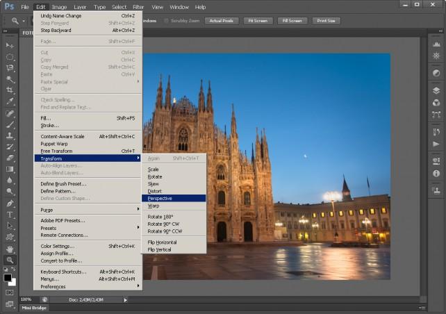 Úprava perspektívy - Výber úpravy Perspective vo Photoshope