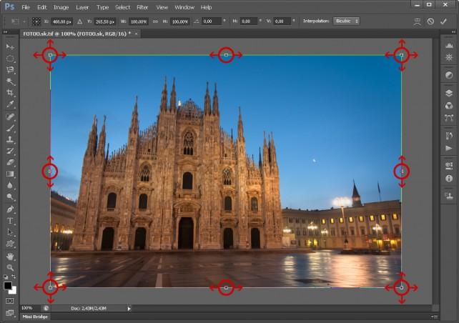 Úprava perspektívy - Body a smer úpravy vo Photoshope