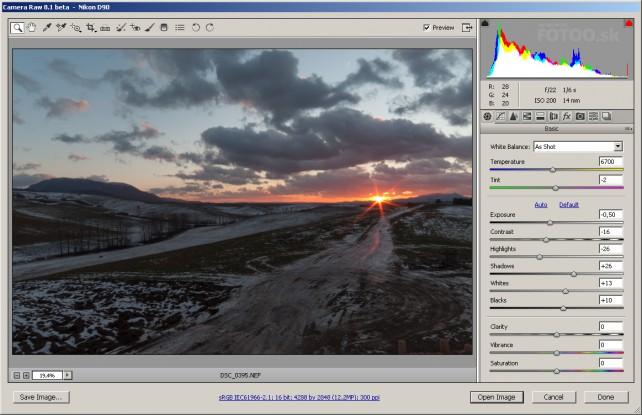 Fotografiu si otvorte v Adobe Camera Raw