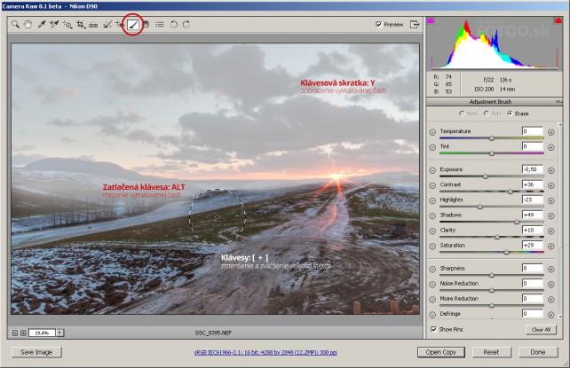 Klávesové skratky Vám v Adobe Camera Raw urýchlia prácu