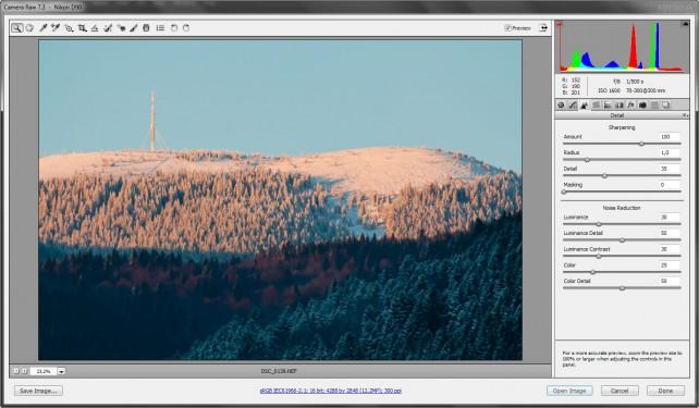 Doostrenie a odstránenie šumu v Adobe Camera Raw
