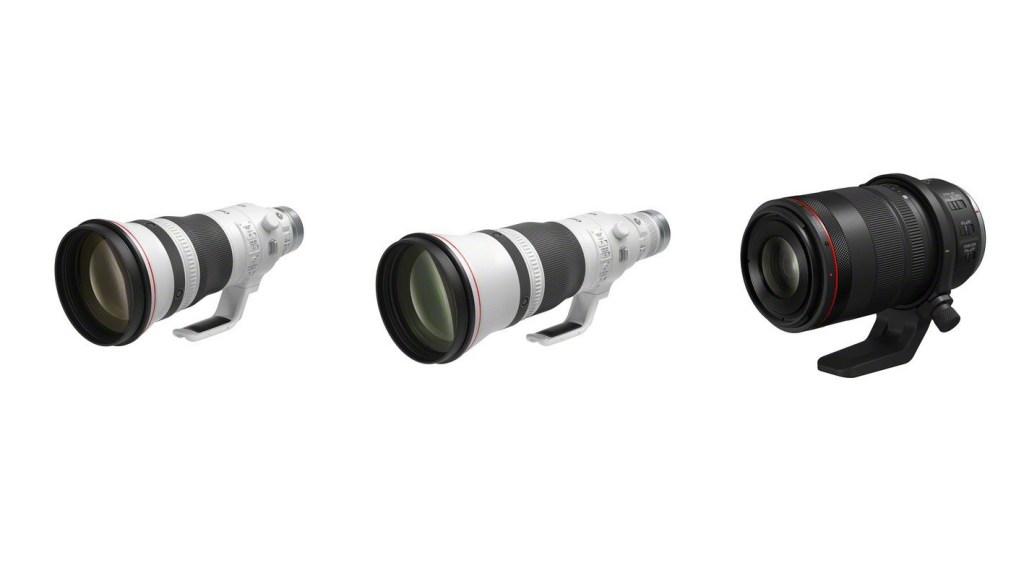 Jetzt auch für das RF Bajonett: RF 400mm F2.8 L IS USM und das RF 600mm F4 L IS USM (links und Mitte). Das RF 100mm F2.8 L MACRO IS USM (rechts) ist das weltweit erste AF-Makroobjektiv mit 1,4-facher Vergrößerung. (c) Canon