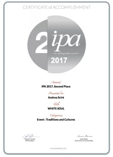 andrea scire ipa 2017 winner certificate 362x500 - IPA 2017 - White Soul Series - 2nd place - Traditions and Cultures - Riflessioni - fotostreet.it