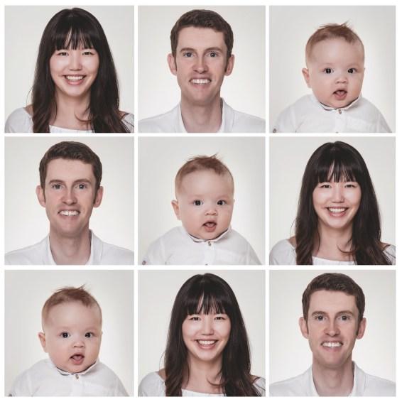 moderne Familienfotos im Quadrat aus Portraits.