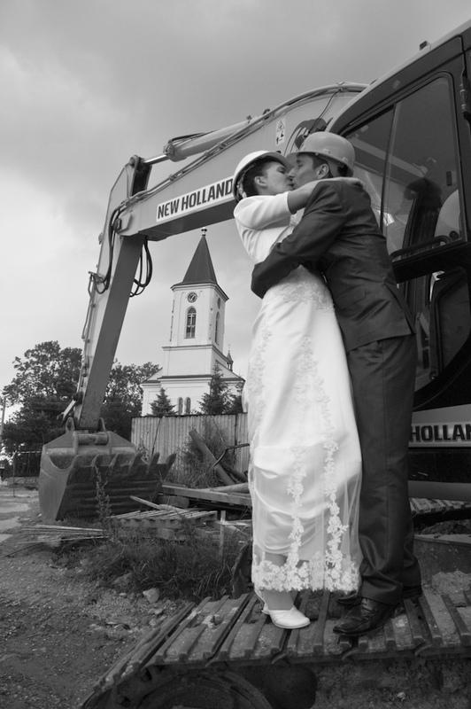Nietypowy plener ślubny na budowie w Bielsku-Białej