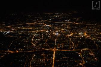 Fotografia Bielska-Białej z lotu ptaka nocą