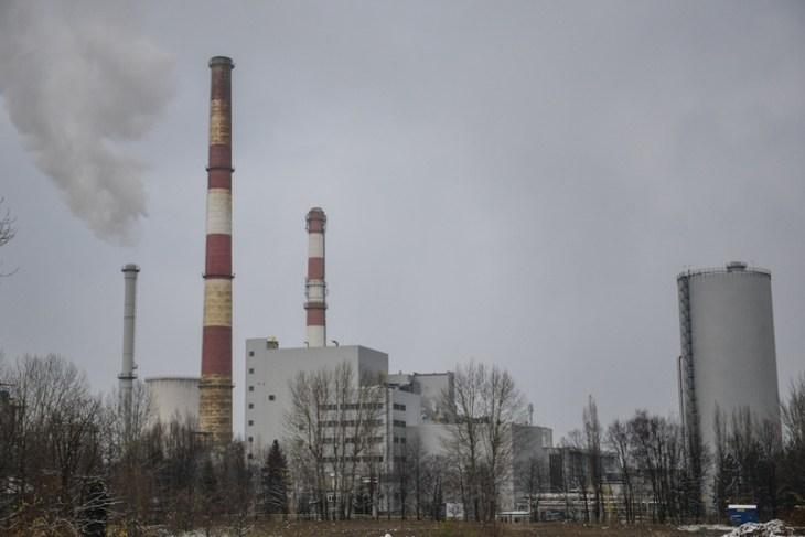 Widok na elektrociepłownię w Bielsku-Białej