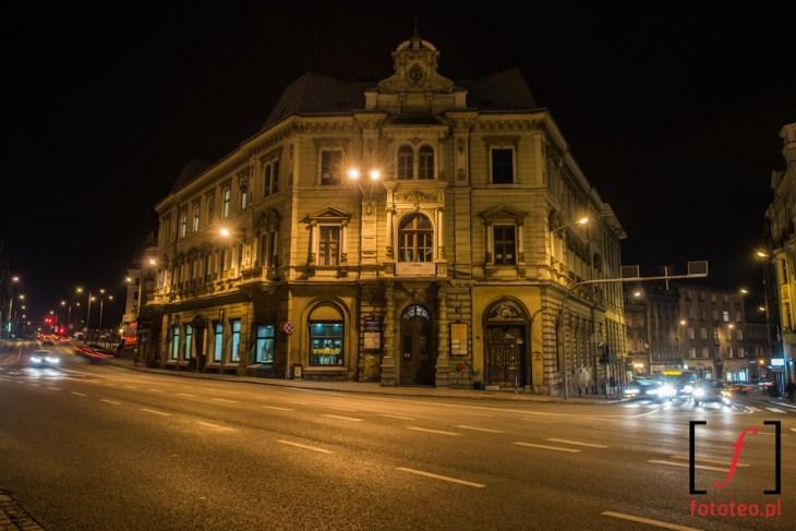 Bielsko-Biała nocą, Kamienica Patria, róg ul.3 maja iul.Stojałowskiego