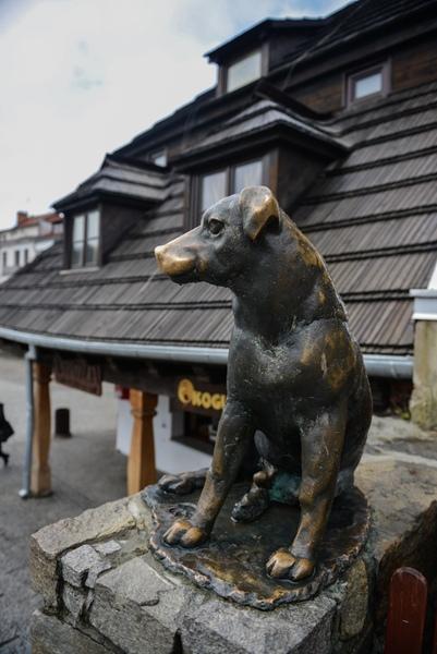 Kazimierz Dolny nad Wisłą, rzeźba psa koło Rynku