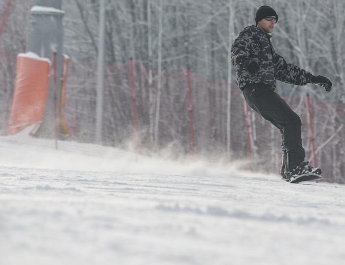 fotografia snowboardu na stoku w Bielsku-Białej
