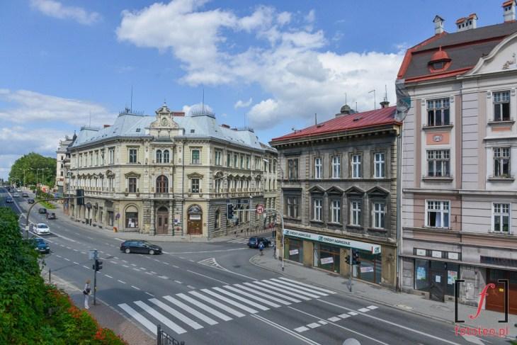 ul. Zamkowa i3 maja wBielsku-Białej. Fotografia zZamku.