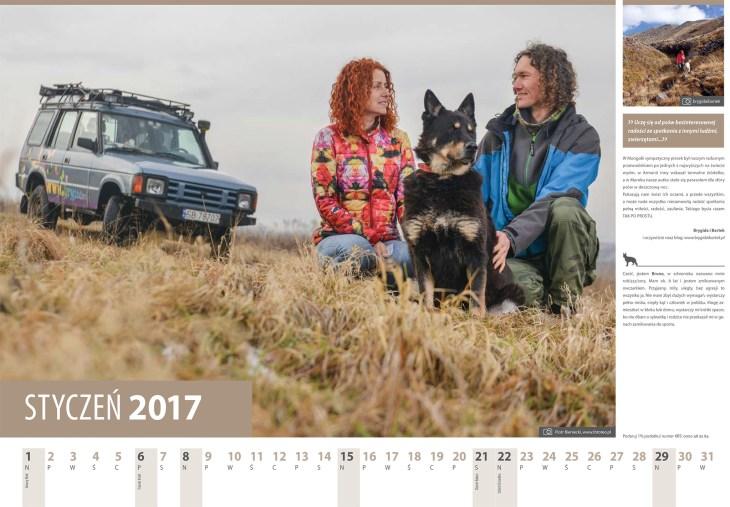 Kalendarz 2017. Styczen. Podroznicy Brygida iBartek