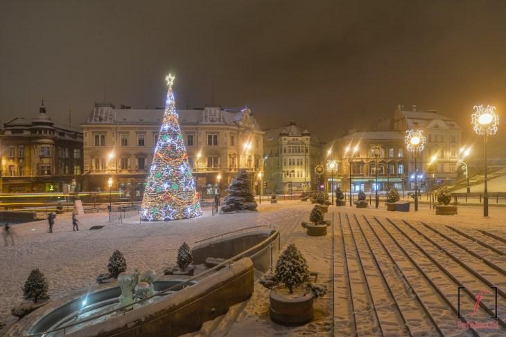 plac Chrobrego w śniegu, Bielsko-Biała