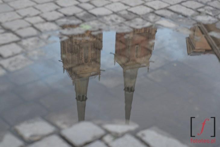 Odbicie wież katedry na Ostrowie Tumskim