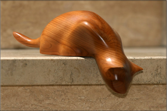 cat wood yew carving