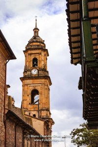 Bogota, Colombia: Looking Upwards at Belfry of Cathedral Primada