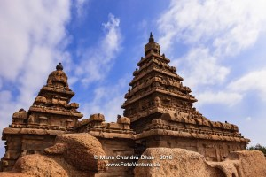 Mahabalipuram, India - Gopurams of 8th Century Shore Temple.