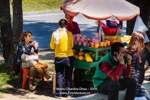 Bogotá, Colombia - roadside fruit vendor, sells fresh fruit.