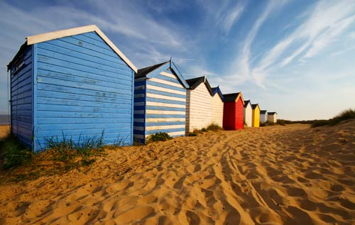 beach huts wall art